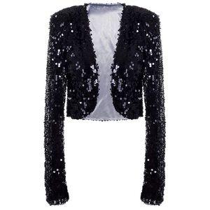 Jackets & Blazers - Black Sequin Sparkly Crop Balero Blazer Jacket